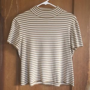 Mock neck striped top